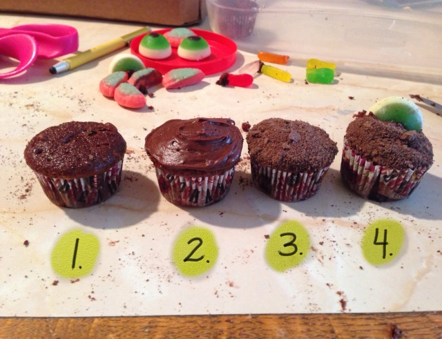 Zom-beh cupcakes are easy to make!