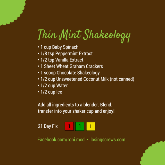 Thin Mint Shakeology Recipe